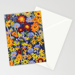 Bright and Cheerful Summer Meadow Floral Design on Dark Blue Background Stationery Cards