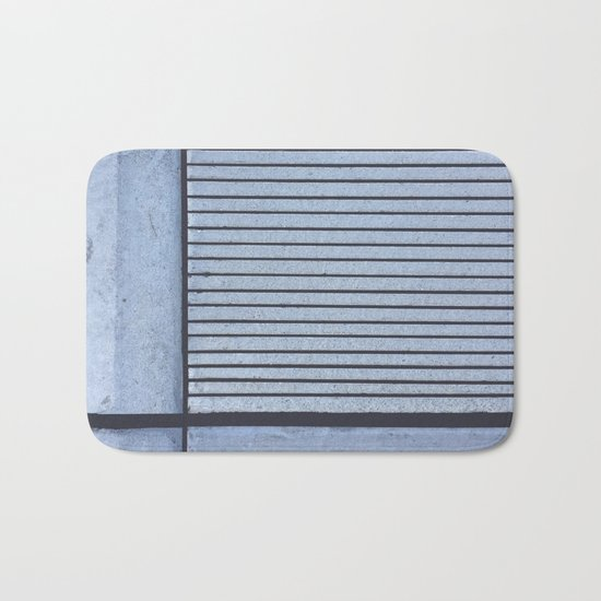 Concrete Stripe Blue Bath Mat