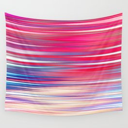 pink abstract with horizontal stripes Wall Tapestry
