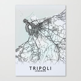 Tripoli, Lebanon, White, City, Map Canvas Print