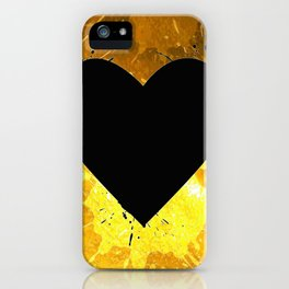 Yellow Watercolor splashed heart texture iPhone Case