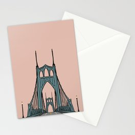 St. Johns Bridge Illustration Pink PDX Stationery Cards