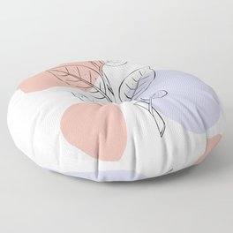 Minimalist Leaf Line Art Floor Pillow