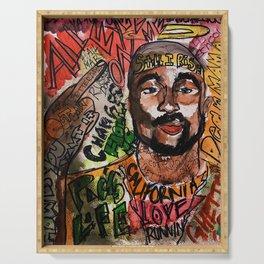 thug,rapper,rap,hiphop,music,rip,fan art,graffiti,street art,poster,colorful,lyrics,music,wall art Serving Tray