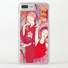 Girls in tropical garden Clear iPhone Case