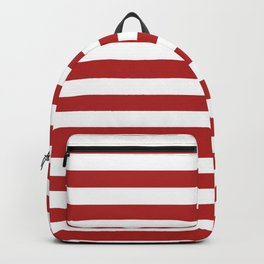 Narrow Horizontal Stripes - White and Firebrick Red Backpack