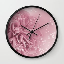Light Pink Rose with hearts #1 #floral #art #society6 Wall Clock