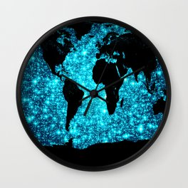 wOrld map Turquoise Sparkle Wall Clock