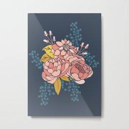 Moody Florals - Blue + Pink Metal Print