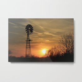 Kansas Sunset with Sun and Windmill Silhouette Metal Print