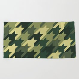 Camouflage houndstooth Beach Towel
