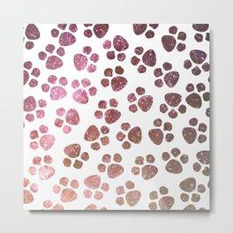 Pretty Purple Paw Prints Pattern Metal Print