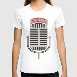 """""""Media"""", an old fashioned microphone illustrated graphic.  T-shirt"""