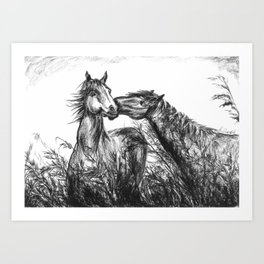 Kiss_Charcoal drawing Art Print