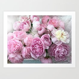 Shabby Chic Pastel Lavender Pink Peonies Art Print