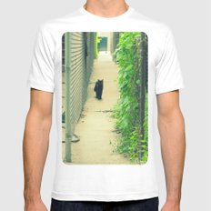 Black Cat With Gangway Ivy  SMALL White Mens Fitted Tee