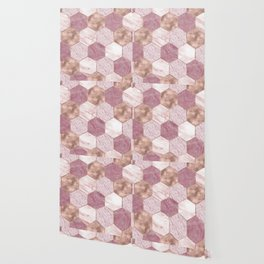 Pink marble honeycomb with rose gold accents Wallpaper