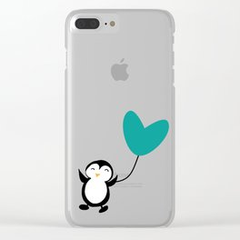 Penguin in love red Clear iPhone Case