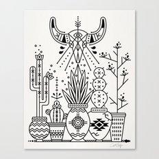 Santa Fe Garden – Black Ink Canvas Print