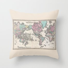 1855 Colton Map of the World on Mercator Projection Throw Pillow