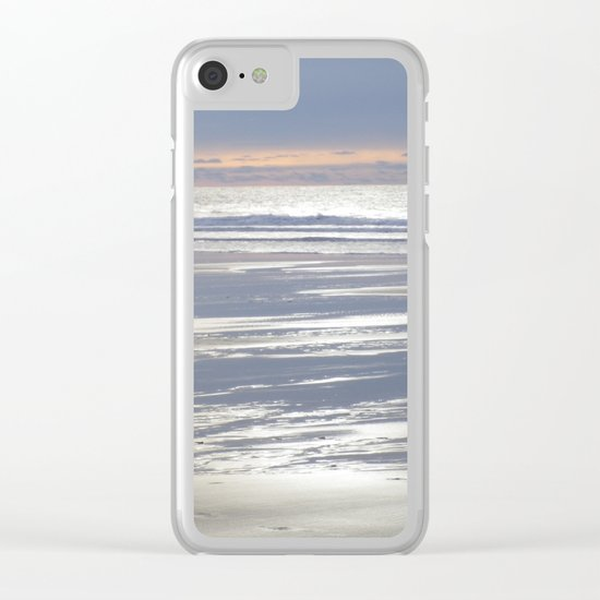 TRANQUIL BEACH WINTER SUNSET CORNWALL Clear iPhone Case