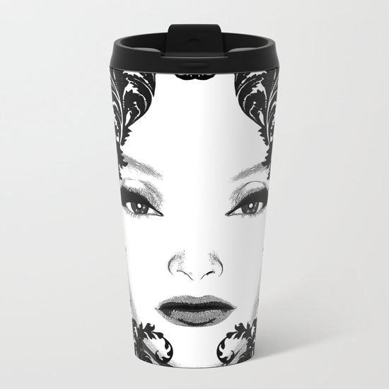 Black and white floral face ornament Metal Travel Mug