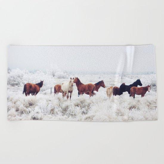 Winter Horseland Beach Towel