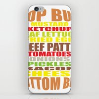 hamburger iPhone & iPod Skins featuring Hamburger by AURA-HYSTERICA
