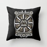 all seeing eye Throw Pillows featuring All Seeing Eye by Pancho the Macho