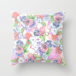 Bohemian Watercolor Flowers Leaves and Antlers Throw Pillow