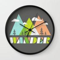 wander Wall Clocks featuring Wander  by Jenny Tiffany