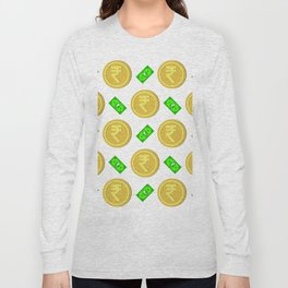 Rupee pattern background. Long Sleeve T-shirt