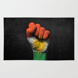 Kurdish Flag on a Raised Clenched Fist Rug