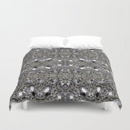 girly chic glitter sparkle rhinestone silver crystal Duvet Cover