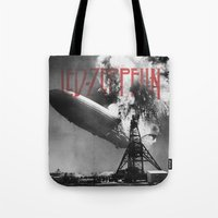 led zeppelin Tote Bags featuring Zeppelin by Blaz Rojs