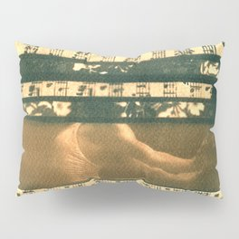 The Melody of Ballet Dance, collage, blue print, cyanotype print, wall art, wall decor Pillow Sham