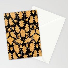 Golden oak and acorn nouveau Stationery Cards