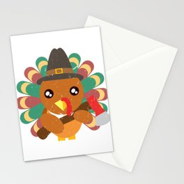 Cute Turkey Holding An Ax Happy Turkey Day Thanksgiving Save A Turkey Awareness T-shirt Design Stationery Cards