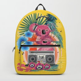 Pink koala with boombox and tropical leaves design Backpack