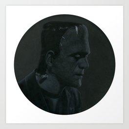 Frankenstein's monster on vinyl record print Art Print