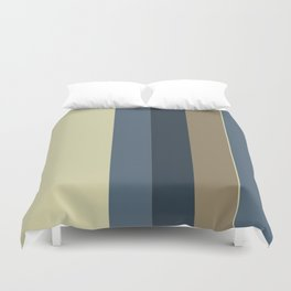 Vertical Solid Taupe Blue Stripes Duvet Cover