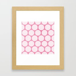 pink and white polka dots Framed Art Print