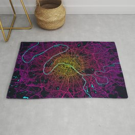Paris City Map of France - Neon Rug