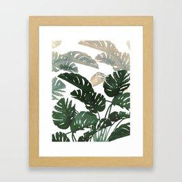 green leaves monstera Framed Art Print