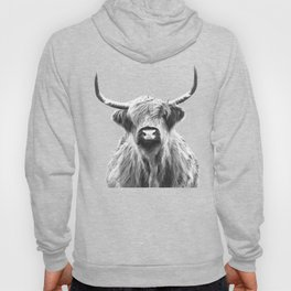 Black and White Highland Cow Portrait Hoody