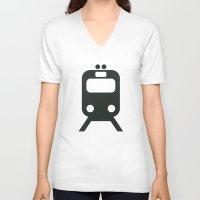 train V-neck T-shirts featuring Train by Alejandro Díaz