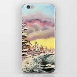 Alberta foothills creek in winter iPhone Skin