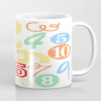 numbers Mugs featuring Colorful Numbers by Sweet Colors Gallery
