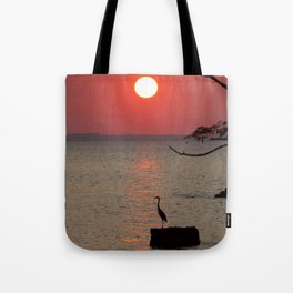 Sunset with Heron Tote Bag