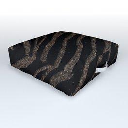 Ripped SpaceTime Stripes - Glitter Brown Outdoor Floor Cushion